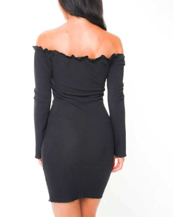 **Olivia Buckland** Amira Button Detail Ribbed Bardot Dress In Black