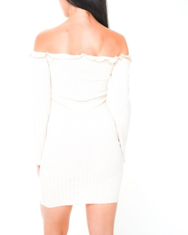 **Olivia Buckland** Amira Button Detail Ribbed Bardot Dress In Stone
