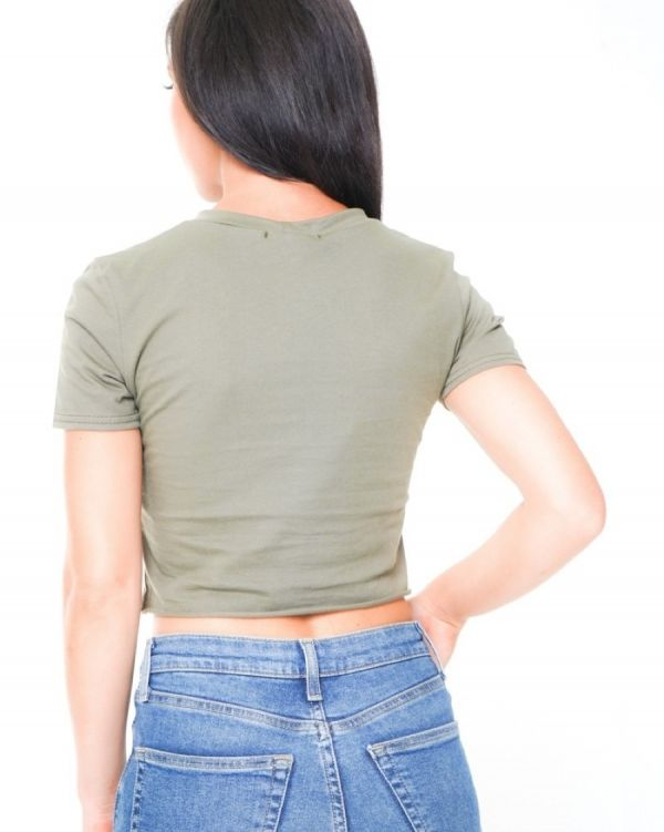 Natalia Laser Cut Slashed Crop Top In Khaki