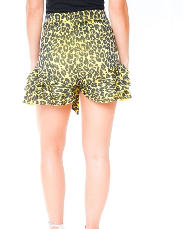 Luciana Leopard Print Frill Hem Belted Shorts In Yellow