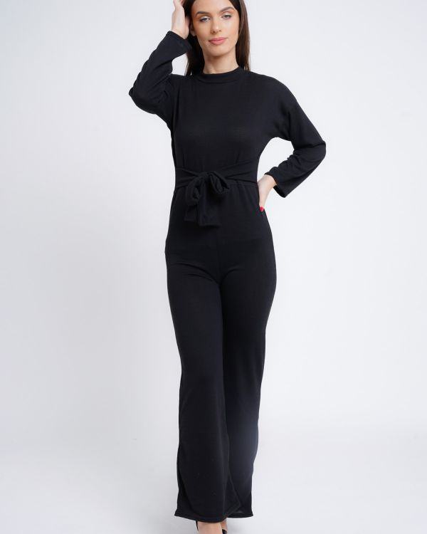 Annmarie Woven Knit Tie Knot Jumpsuit In Black