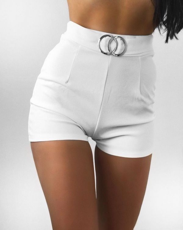 Nina Double Circle Belted Shorts In White
