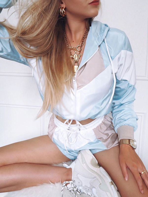 Elle Colour Block Cropped Jacket & Shorts Co-ord In Blue