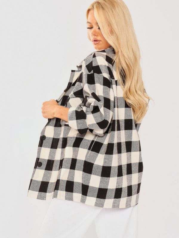 Tilly Oversized Button Up Tartan Check Shirt In Black