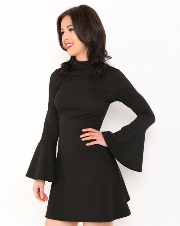 Eloise Flare Swing Dress In Black