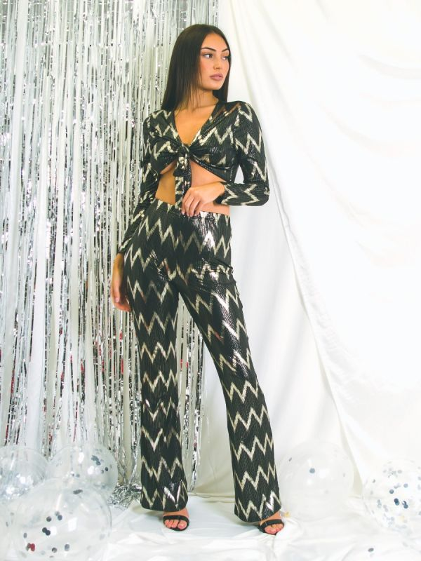 Marlowe Gold Foil Chevron Print 2 Piece Co-ord Set In Black