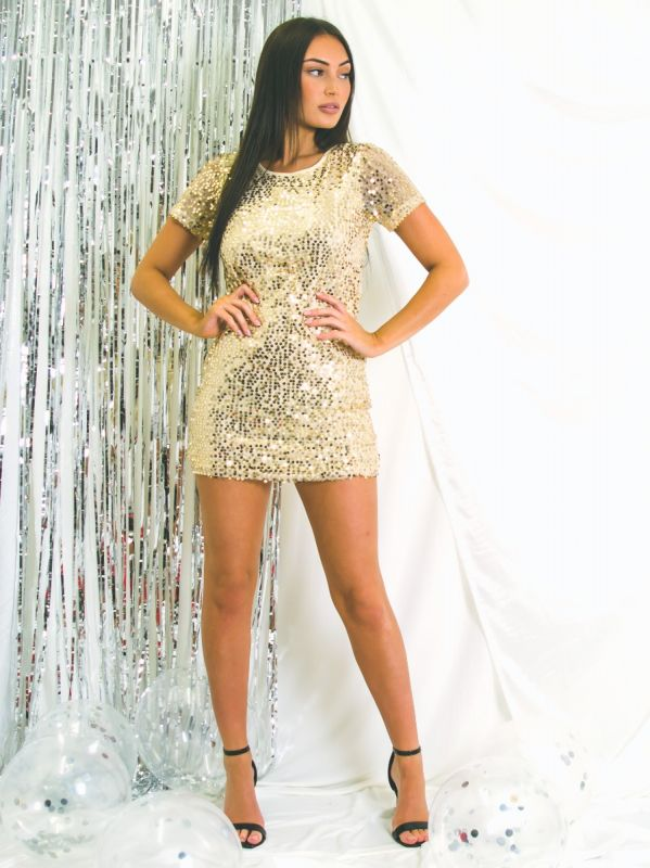 Alisa Sequined Shift Dress In Champagne