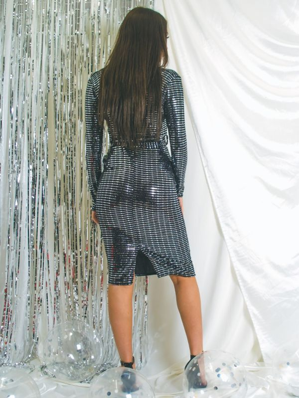 Gabby Sequin Detail Wrap Front Belted Dress In Silver