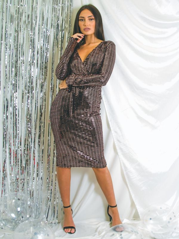 Gabby Sequin Detail Wrap Front Belted Dress In Bronze