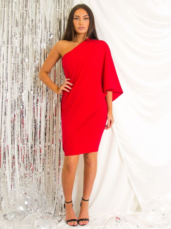 Wynefreed One Shoulder Wrap Over Draped Dress In Red