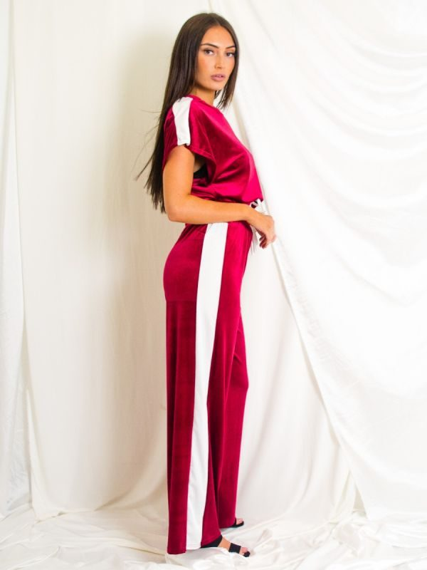 Avah Velour Contrast Panel Boxy Drawstring Co-ord In Wine