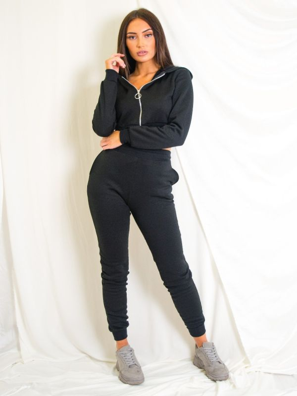 Tina Zip Hoodie & Jogger Co-ord In Black