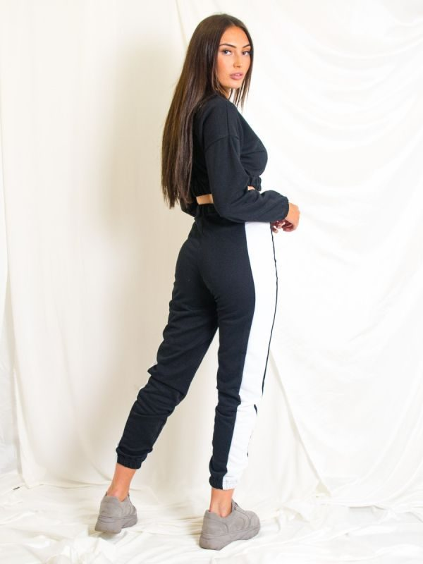 Emely Contrast Cropped Hoodie & Trouser Co-ord In Black