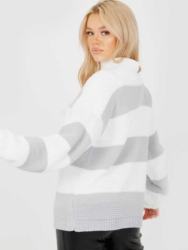 Alesia Funnel Neck Striped Knitted Jumper In Grey