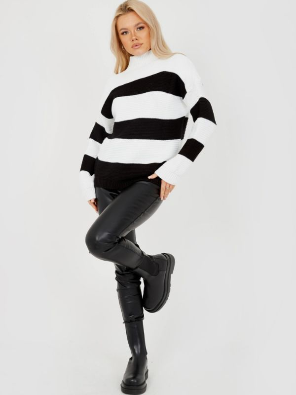 Alesia Funnel Neck Striped Knitted Jumper In Black
