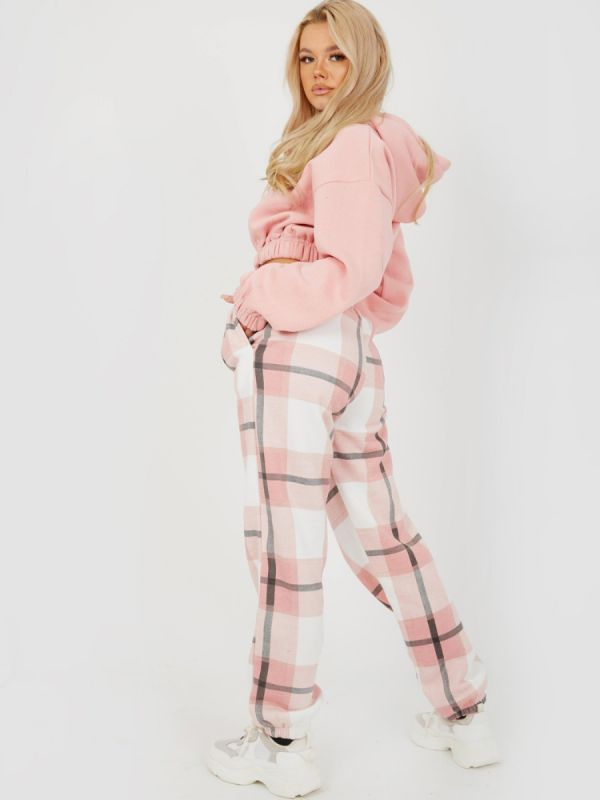 Kate Checked Fleece Joggers In Pink