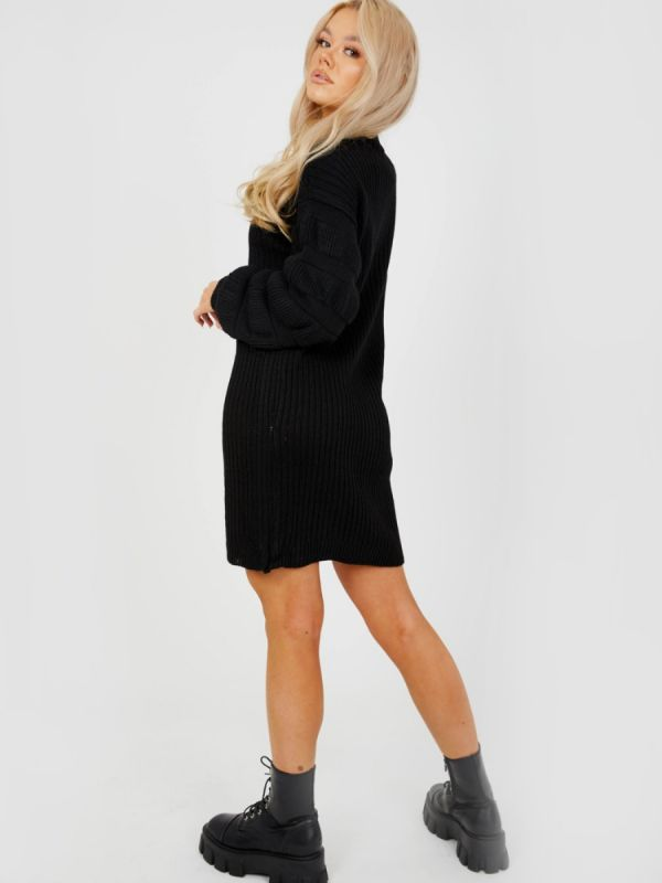 Elaine Bubble Sleeve Knitted Dress In Black