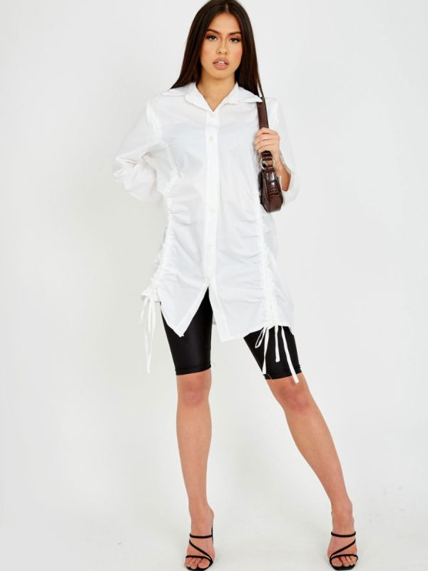 Rachelle Drawstring Ruched Buttoned Shirt Dress In White