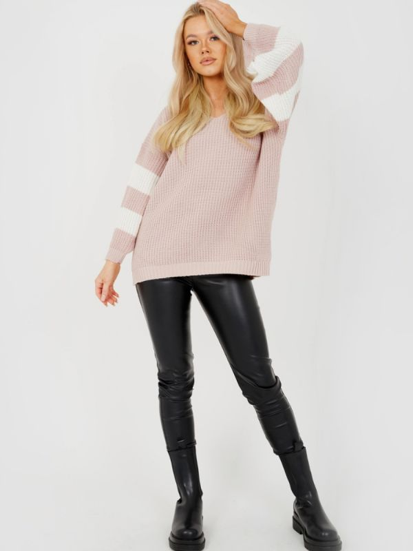 Joyce Contrast Stripe Sleeve Knitted Jumper In Rose