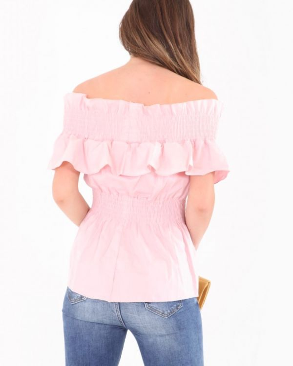 Claire Shirred Panel Frill Bardot Top In Pink