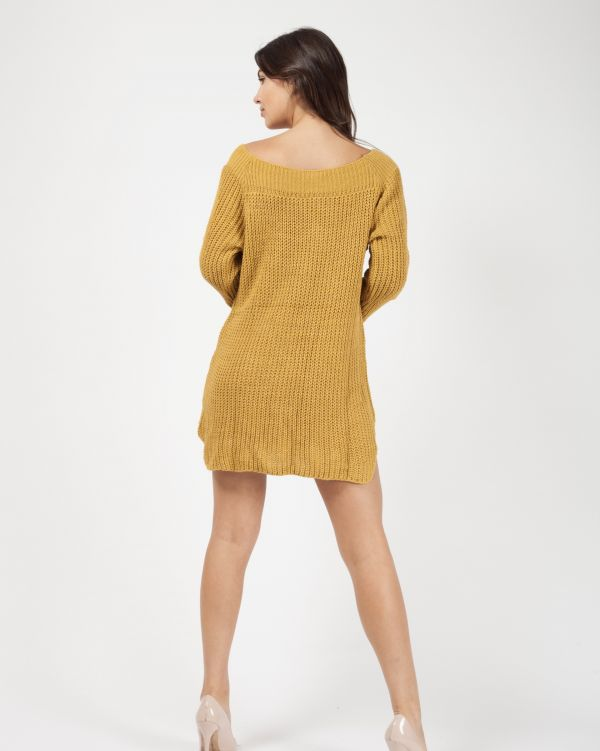 Kallera Button Detail Knitted Jumper Dress In Mustard