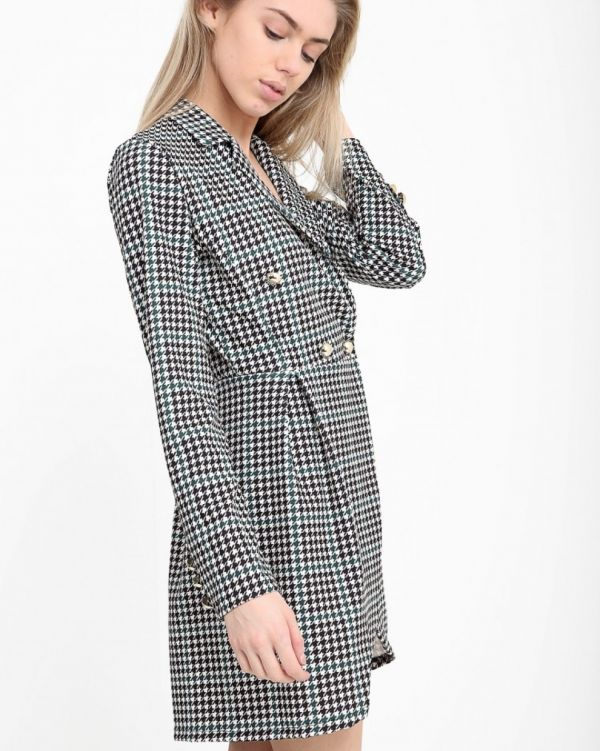 Rebekah Houndstooth Blazer Dress In Black & Green