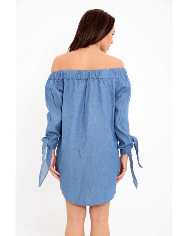Ola Floral Embroidered Knot Sleeve Bardot Dress In Blue