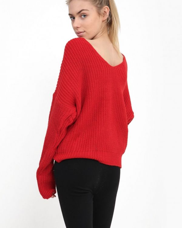 Myleen Twist Knot Knitted Jumper In Red