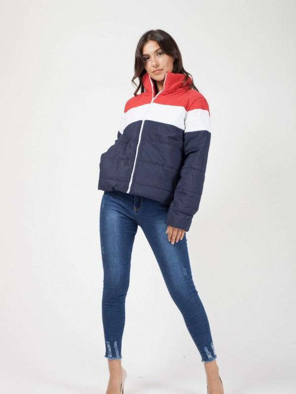 Nita Contrast Colour Block Padded Jacket In Navy