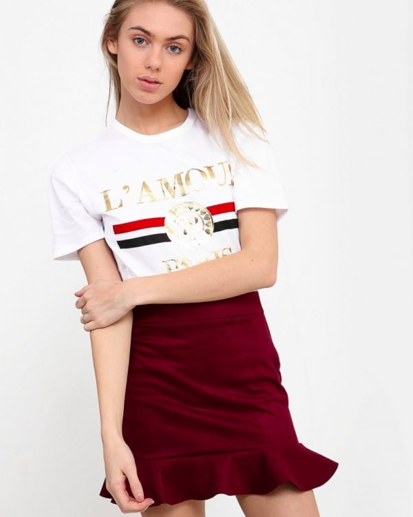 Felicity Suedette Frill Mini Skirt In Wine
