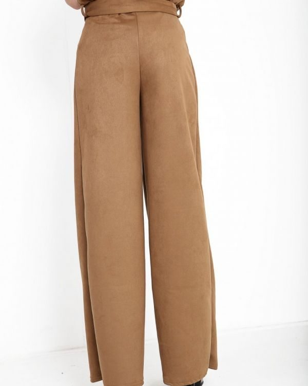Larna Wide Leg Suedette Paper Bag Trousers In Camel