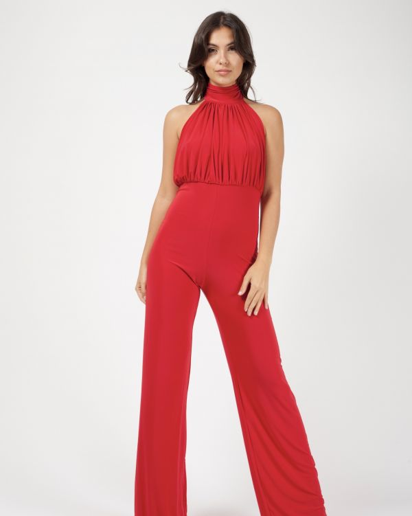 **Sophie Kasaei** Verity Open Back Halterneck Ruched Jumpsuit In Red