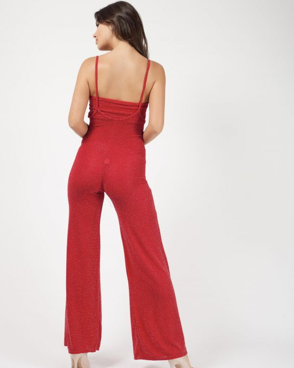 Rebecca Lurex Bandeau & Jumpsuit Co-ord In Red