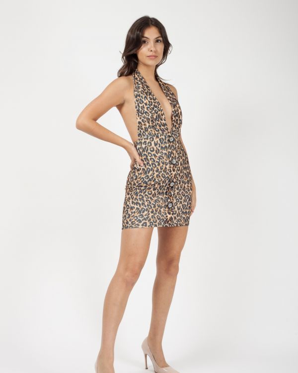 Paola Leopard Print Halterneck Button Dress In Brown
