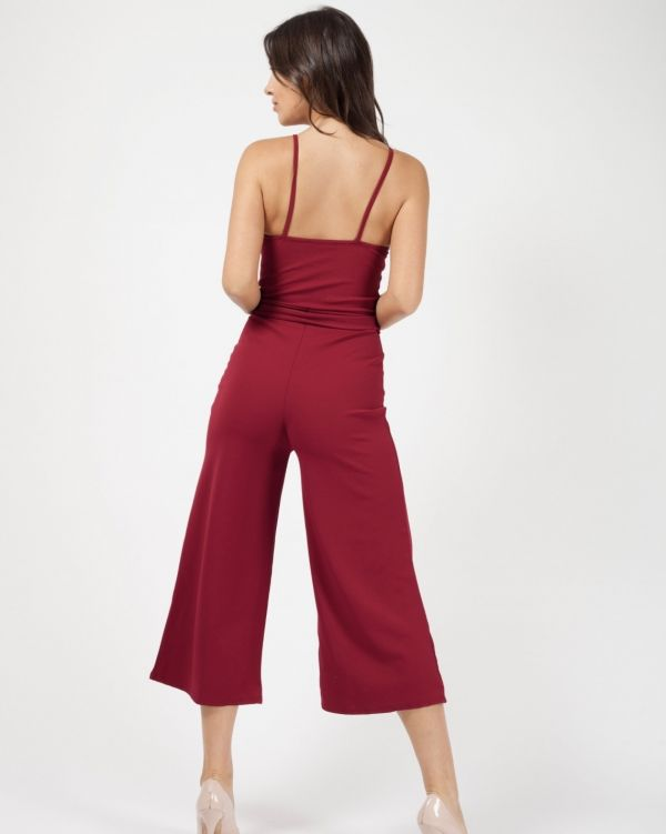 Bonnie Button Detail Belted Culotte Jumpsuit In Wine