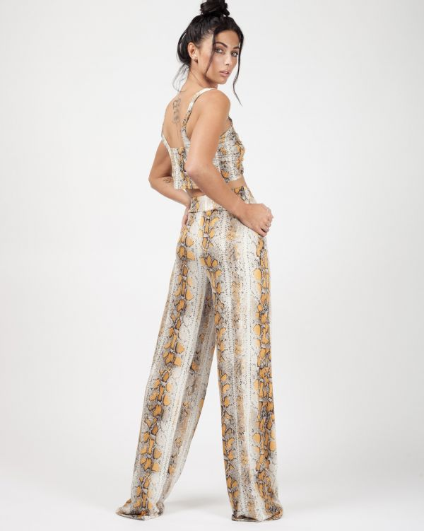 Amia Snake Print Bralet And Trouser Co-ord In Mustard