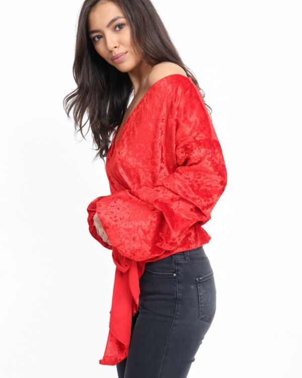 Savanna Velour Wrap Over Top In Red