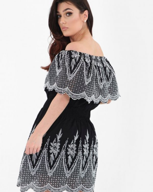 Valar Embroidered Frill Bardot Dress In Black