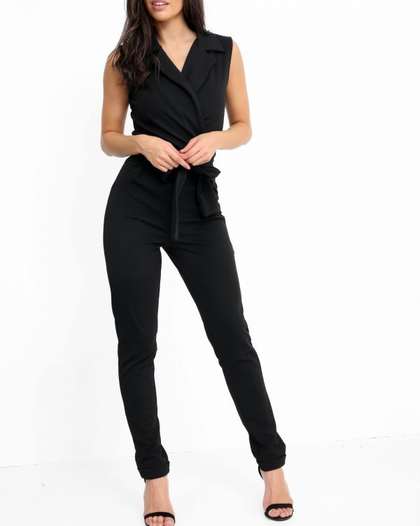 Kensley Tuxedo Style Tie Waist Wrap Jumpsuit In Black