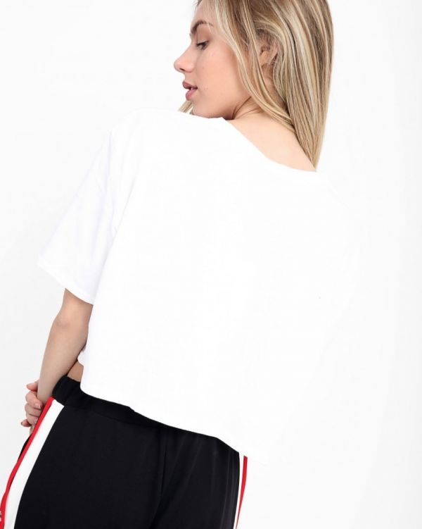 Serenity 'GOOD VIBES' Crop Top In White