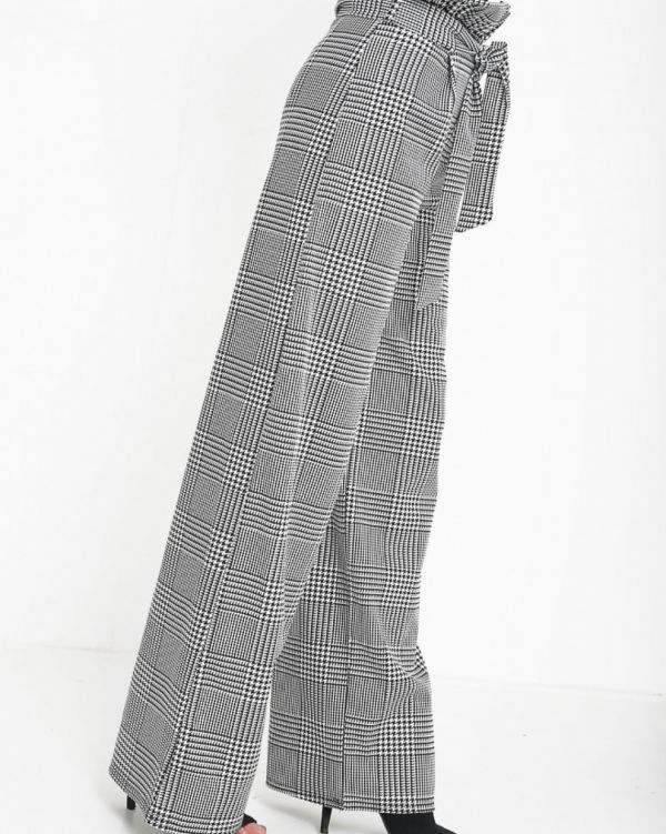 **Olivia Buckland** Binky Wide Leg Check Paper Bag Trouser In Monochrome