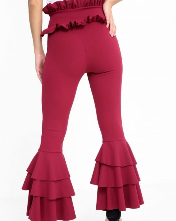 Carsson Frill Trouser In Wine