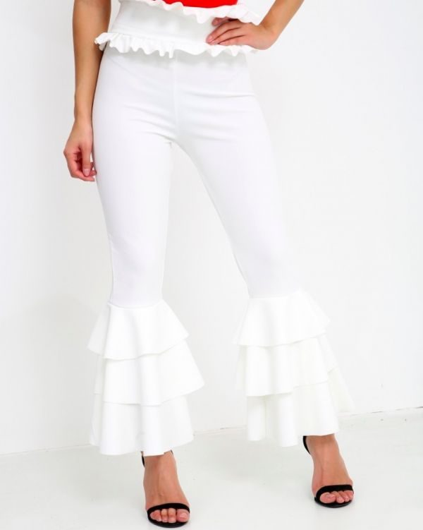 Carsson Frill Trouser In Cream