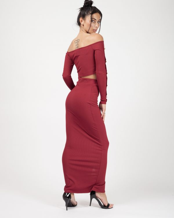 Yasmina Button Trim Ribbed Crop Top & Maxi Skirt Co-ord In Wine