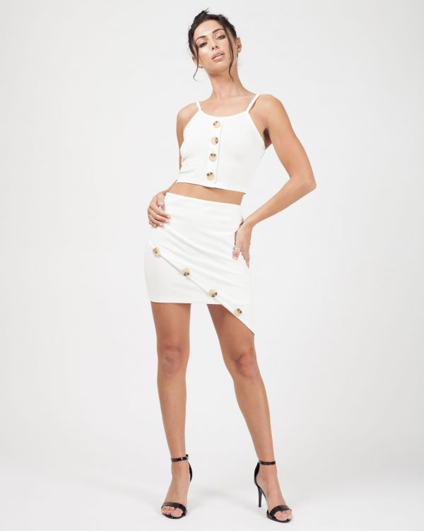 Mía Button Detail Crop Top & Skirt Co-ord In Cream
