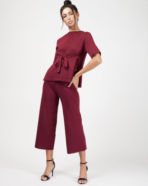 **Olivia Buckland** Luella Tie Detail Top & Cropped Pants Loungewear Set In Wine