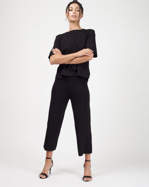Luella Tie Detail Top & Cropped Pants Loungewear Set In Black