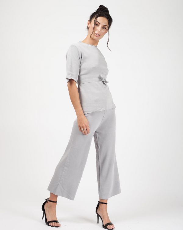 **Olivia Buckland** Luella Tie Detail Top & Cropped Pants Loungewear Set In Grey