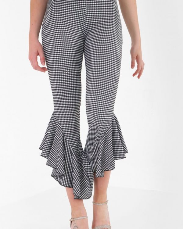 Louisa Gingham Check Frill Trouser In Monochrome
