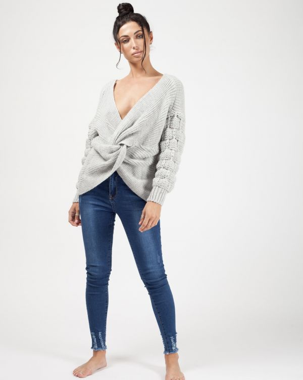 Soraya Bobble Sleeve Twist Front Knitted Jumper In Grey